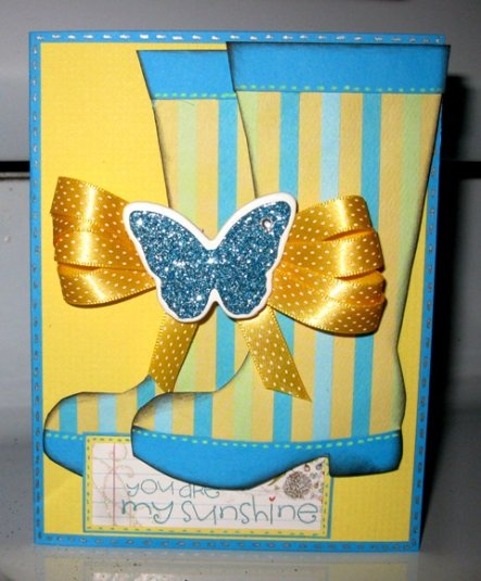You are my sunshine - Rainboots shaped card - Cathryn Holzschuher