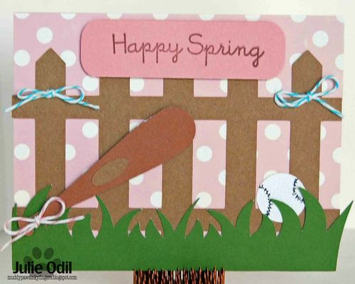 Happy spring - Julie Odil - Baseball and bat shaped card