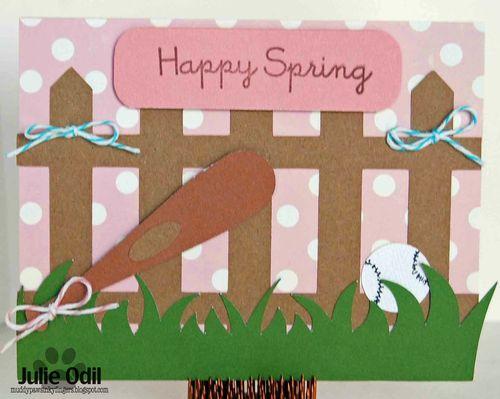 Happy spring - Julie Odil - Baseball and bat shaped card
