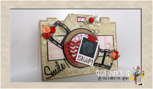 SMILE - CAMERA PHOTO SHAPED CARD - Lisa Minckler