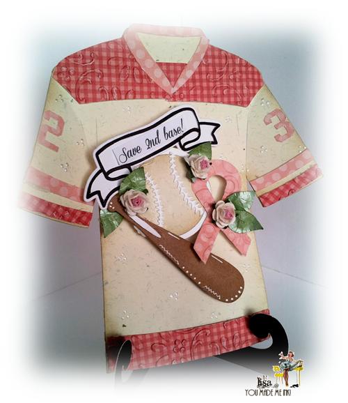 Lisa Minckler - Baseball and bat shaped card - Think Pink - Breast Cancer T-shirt set
