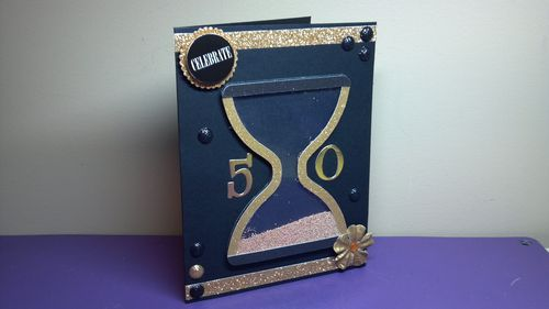 Celebrate - Hourglass shaker card - Audrey Long