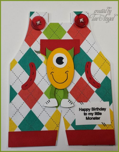 Happy birthday - Tee Angel - Overalls shaped card and a bunch of monsters set
