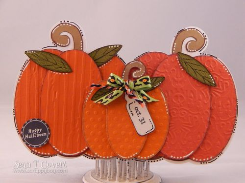Pumpkin trio shaped card - Sean Covert