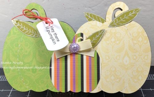 Pumpkin trio shaped card - Shanta Newby
