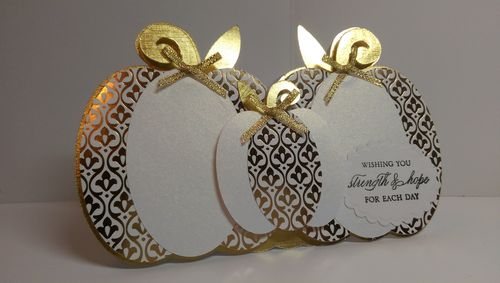 Pumpkin trio shaped card - Audrey Long