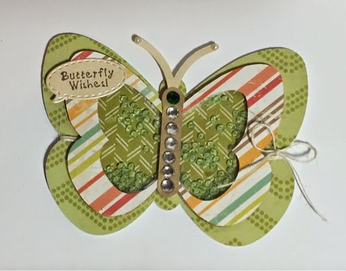 Butterfly wishes - Keri Parish - butterfly shaker card