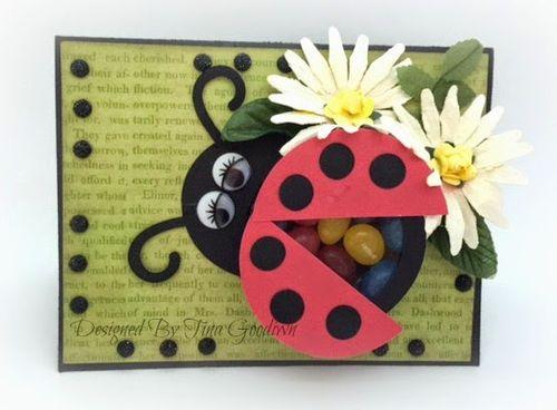 Ladybug treat cup card - Tina Goodwin