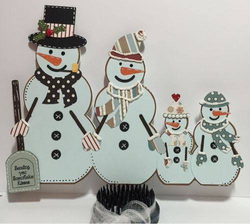 Snowman family shaped card - Keri Parish