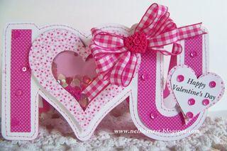 Diane hover - i heart u word shaped card