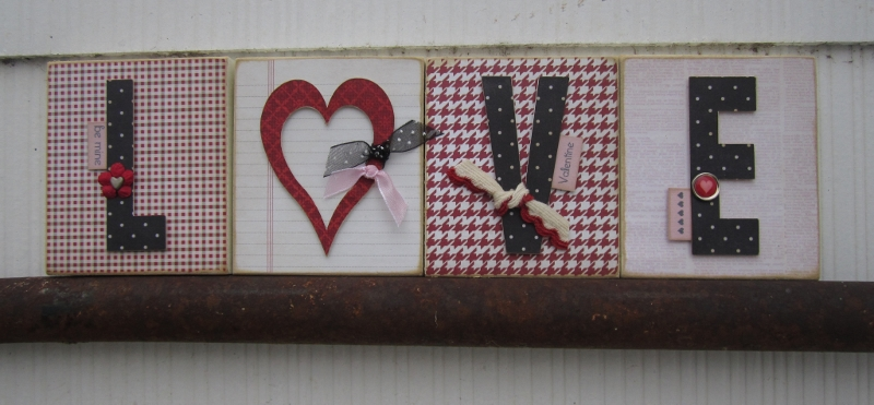 Love word shaped card - debbie fisher