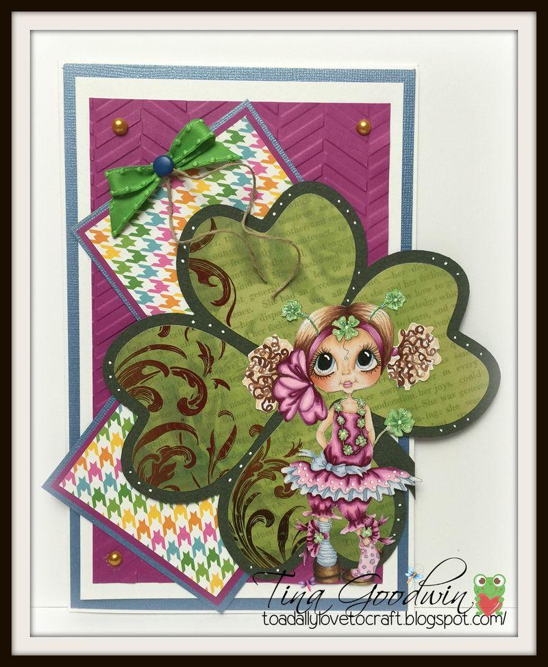 4 leaf clover shaped card - tina goodwin