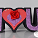 Maria p i heart you word shaped card