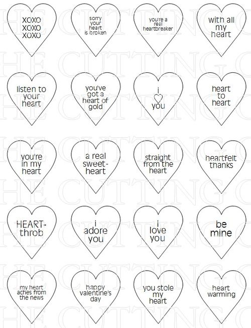 photo relating to Printable Conversation Hearts named The Slicing Restaurant: Communication HEARTS WINDOW CARD TEMPLATE