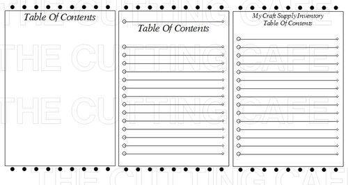 blank table of contents pdf