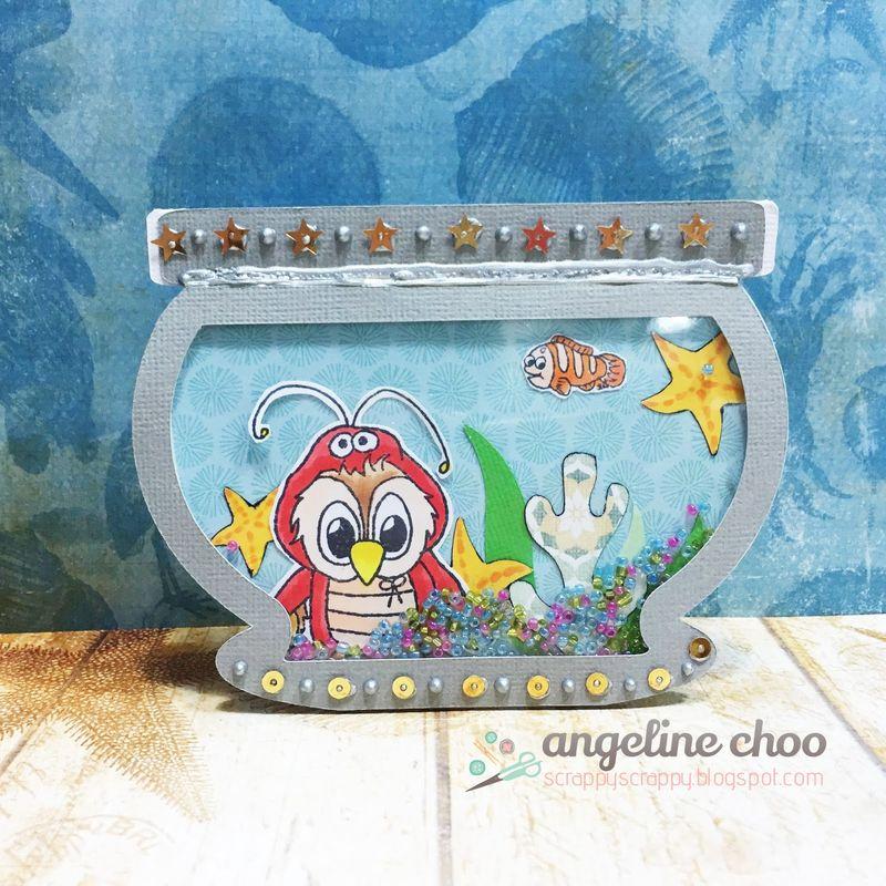 Fishbowel shaker card - angeline choo