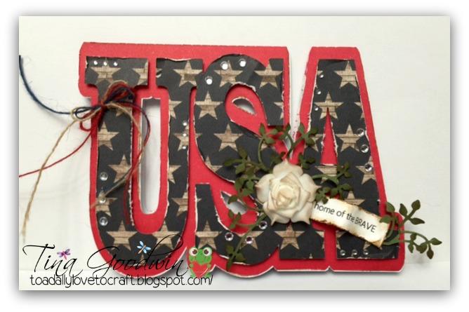 Usa word shaped card - Tina Goodwin