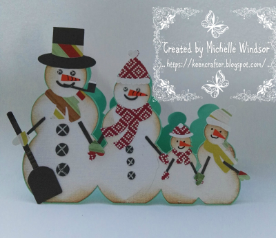 Snowman family shaped card - Michelle Windsor