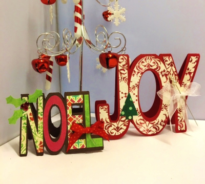 Noel and joy word shaped cards - robyn weatherspoon