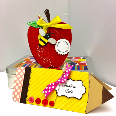 Apple shape and pencil shaped card - robyn weatherspoon