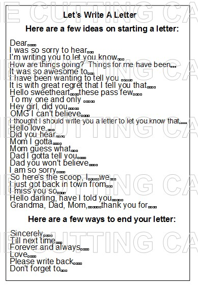IDEAS ON WRITING A LETTER