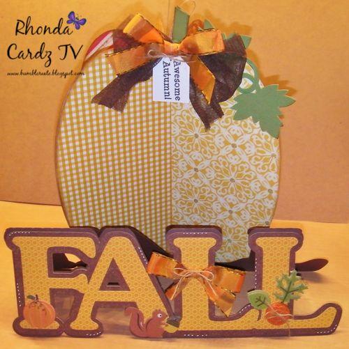 3d pumpkin and fall word shaped card - Rhonda Zmikly