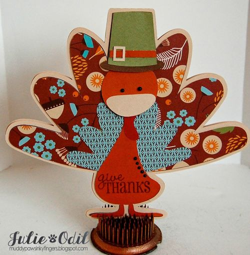Give THANKS - Julie Odil - turkey shaped card