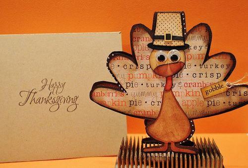 Gobble - Turkey shaped card - Lisa Snowdy