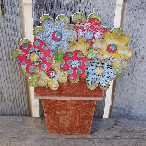 Flower pot shaped card -Debbie Fisher