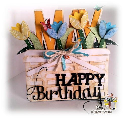 Tulip basket shaped card and may word shaped card - Lisa Minckler