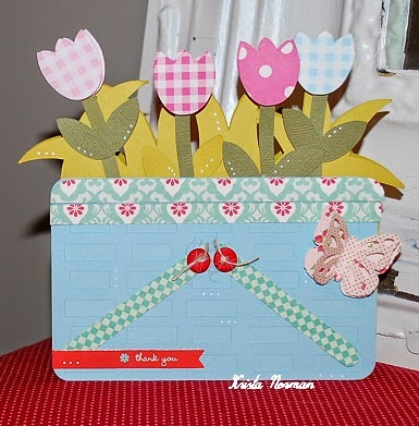 Tulip basket shaped card - Krista Norman