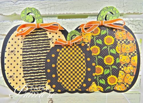 Pumpkin trio shaped card set -