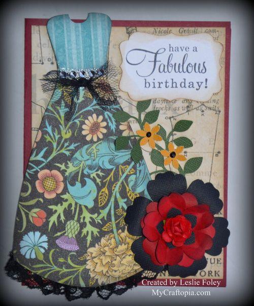 Dress shaped card Leslie foley