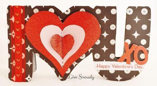 I heart u word shaped card - lisa snowdy